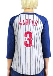 Bryce Harper Philadelphia Phillies Womens White Name and Number Raglan Long Sleeve Player T Shirt