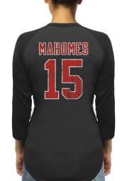 Patrick Mahomes Kansas City Chiefs Womens Black Name and Number Raglan Long Sleeve Player T Shirt