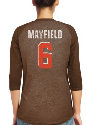 Baker Mayfield Cleveland Browns Womens Brown Name and Number Raglan Long Sleeve Player T Shirt