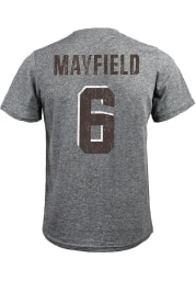 Baker Mayfield Cleveland Browns Grey Name And Number Short Sleeve Fashion Player T Shirt