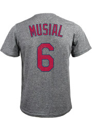 Stan Musial St Louis Cardinals Grey Name and Number Short Sleeve Fashion T Shirt
