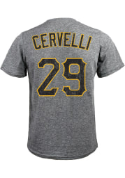 Francisco Cervelli Pittsburgh Pirates Grey Name and Number Short Sleeve Fashion T Shirt
