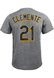Roberto Clemente Pittsburgh Pirates Grey Name and Number Short Sleeve Fashion T Shirt