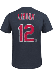Francisco Lindor Cleveland Indians Red Name and Number Short Sleeve Fashion T Shirt
