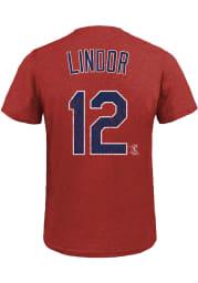 Francisco Lindor Cleveland Indians Navy Blue Name and Number Short Sleeve Fashion T Shirt