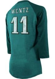 Carson Wentz Philadelphia Eagles Womens Midnight Green Raglan Long Sleeve Player T Shirt