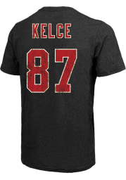 Travis Kelce Kansas City Chiefs Black Name and Number Short Sleeve Fashion Player T Shirt