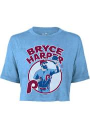 Bryce Harper Philadelphia Phillies Womens Light Blue Icon Player T-Shirt