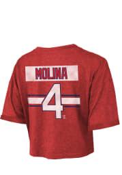 Yadier Molina St Louis Cardinals Womens Red Hard Hit Player T-Shirt
