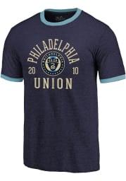 Philadelphia Union Navy Blue Ringer Short Sleeve Fashion T Shirt