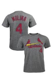 Yadier Molina St Louis Cardinals Grey Distressed Short Sleeve Fashion Player T Shirt