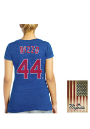 Anthony Rizzo Chicago Cubs Womens Blue Womens Triblend V-Neck Player T-Shirt