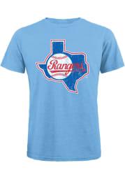 Texas Rangers Light Blue Coop Logo Short Sleeve Fashion T Shirt