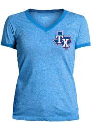 Texas Rangers Womens Light Blue Ringer Short Sleeve T-Shirt