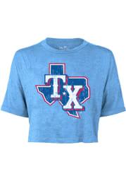 Texas Rangers Womens Light Blue Alt Cap Short Sleeve T-Shirt