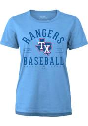 Texas Rangers Womens Light Blue Field Goal Short Sleeve T-Shirt