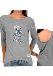 Original Retro Brand Xavier Juniors Grey Scoop Back Long Sleeve Scoop Neck
