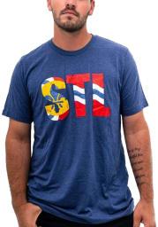 Arch Apparel St Louis Navy Blue STL City Flag Short Sleeve Fashion T Shirt