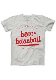 Series Six St Louis Grey Beer and Baseball Short Sleeve T Shirt