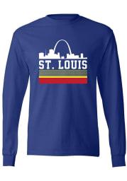 Series Six St Louis Blue Retro Skyline Long Sleeve T Shirt