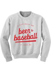 St Louis Mens Grey Beer Baseball Long Sleeve Crew Sweatshirt