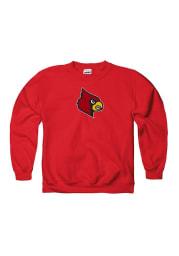Louisville Cardinals Youth Red Logo Long Sleeve Crew Sweatshirt
