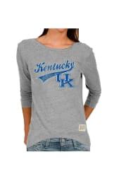 Original Retro Brand Kentucky Juniors Grey Retro Long Sleeve Scoop Neck