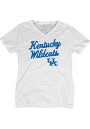Kentucky Wildcats Womens White Ladies V-Neck