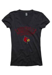 Louisville Cardinals Juniors Black Varsity Ageless V-Neck T-Shirt