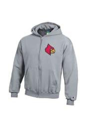 Louisville Cardinals Youth Grey Big Logo Long Sleeve Full Zip Jacket