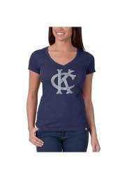 47 Kansas City Athletics Womens Blue Scrum V-Neck T-Shirt