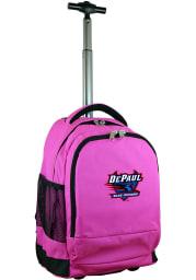 DePaul Blue Demons Pink Wheeled Premium Backpack