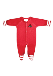 Louisville Cardinals Baby Red Stripe Loungewear One Piece Pajamas
