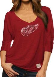 Original Retro Brand Detroit Red Wings Womens Red 3/4 Viscose Long Sleeve Women's V-Neck