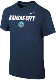Nike KC NWSL Youth Navy Blue Team Logo Short Sleeve T-Shirt