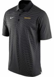 Nike Missouri Tigers Mens Black Stadium Stripe Wordmark Short Sleeve Polo