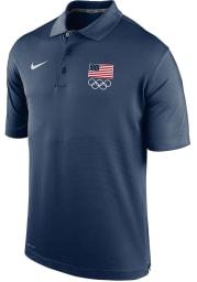Nike Team USA Mens Navy Blue Varsity Short Sleeve Polo