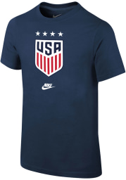 Nike Team USA Youth Navy Blue Crest Short Sleeve T-Shirt