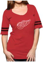 Original Retro Brand Detroit Red Wings Womens Red Stripe Scoop Scoop T-Shirt