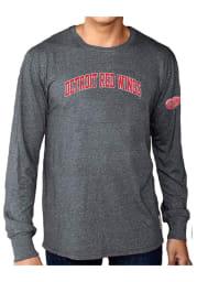 Original Retro Brand Detroit Red Wings Grey Mock Twist Long Sleeve Fashion T Shirt