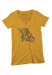 Missouri Western Griffons Womens Gold Shimmer Script V-Neck