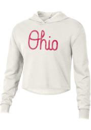 Alternative Apparel Ohio State Buckeyes Womens White Burnout Cropped Hooded Sweatshirt