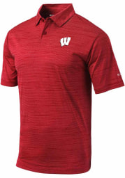 Columbia Wisconsin Badgers Mens Red Set Short Sleeve Polo