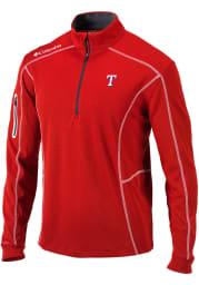 Columbia Texas Rangers Mens Red Shotgun Long Sleeve 1/4 Zip Pullover