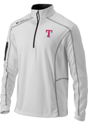 Columbia Texas Rangers Mens White Shotgun Long Sleeve 1/4 Zip Pullover