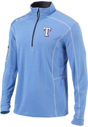 Columbia Texas Rangers Mens Light Blue Shotgun Long Sleeve 1/4 Zip Pullover
