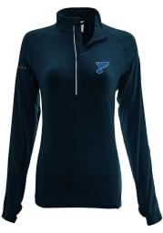 Levelwear STL Blues Womens Navy Blue Energy Wordmark Script 1/4 Zip Pullover