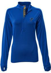 Levelwear STL Blues Womens Blue Pacer Aztext Script 1/4 Zip Pullover