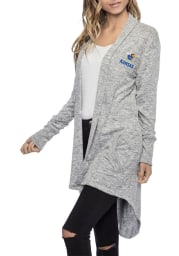 Kansas Jayhawks Womens Grey Cozy Fleece Long Sleeve Cardigan