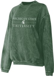 Michigan State Spartans Womens Green Corded Crew Sweatshirt